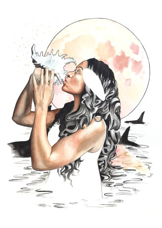 "Her Heart Belonged to the Sea - Whimsical Spirit Animal portrait by Darcy Goedecke featuring orca whales and a coral moon. 24 x 30"" ink and watercolor on paper. 24 x 30"" 2018"